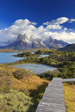 Chile  Patagonia  Torres Del Paine National Park  Cuernos Del Paine Peaks and Lake Pehoe
