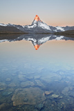 Switzerland  Valais  the Summit of the Matterhorn Reflected in Stellisee During a Relaxing Sunrise