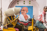 Cycle Rickshaw and Gandhi Mural  Chennai  (Madras)  India