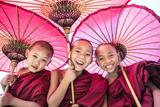 Myanmar  Mandalay Division  Bagan Portrait of Three Novice Monks under Red Umbrellas (Mr)