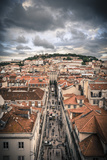 Portugal  Lisbon  Rooftop View of Baixa District with Sao Jorge Castle and Alfama District Beyond