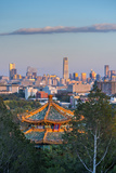 China  Beijing  Jingshan Park  Pavillion and Modern Chaoyang District Skyline Beyond