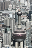 China  Shanghai  View over Pudong Financial District  Oriental Pearl Tower