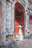 Woman Wearing Ao Dai Dress at Dien Tho Inside Citadel  Hue  Thua Thien-Hue  Vietnam (Mr)