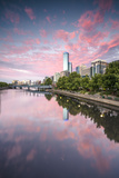 Melbourne  Victoria  Australia Yarra River and City at Sunrise  with Rialto Towers on the Right