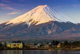 Mount Fuji at Sunrise as Seen from Lake Kawaguchi  Yamanashi Prefecture  Japan