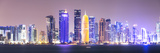 Qatar  Doha Skyline with Skyscrapers  at Night from the Corniche