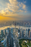 China  Shanghai  View over Pudong Financial District  Huangpu River Beyond