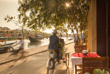 Cyclos Passing Restaurant  Hoi an (Unesco World Heritage Site)  Quang Ham  Vietnam