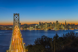 Dusk View over Bay Bridge and Downtown Skyline from Yerba Buena Island  San Francisco  California