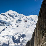 Cable Car in Front of Mt Blanc from Mt Brevent  Chamonix  Haute Savoie  Rhone Alpes  France