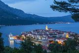 Elevated View over Korcula's Picturesque Stari Grad Illuminated at Dusk  Korcula  Dalmatia  Croatia