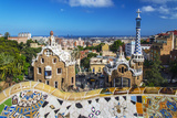 Entrance of Park Güell with City Skyline Behind  Barcelona  Catalonia  Spain