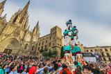 Castellers or Human Tower Exhibiting in Front of the Cathedral  Barcelona  Catalonia  Spain