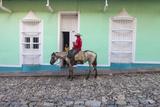 Cuba  Trinidad  Milkman on Horseback Delivers Bottles of Milk to House