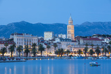 St Domnius Cathedral Bell Tower and Stari Grad Illuminated  Split  Central Dalmatia  Croatia