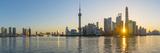 China  Shanghai  Pudong District  Skyline of the Financial District across Huangpu River at Sunrise