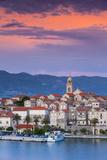 Elevated View over Picturesque Korcula Town Illuminated at Sunset  Korcula  Dalmatia  Croatia