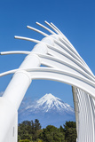 Mount Taranaki (Egmont) Framed with Te Rewa Rewa Bridge  Taranaki  North Island  New Zealand