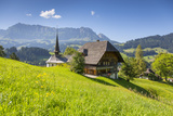 Church and Farmhouse in a Village in the Emmental Valley  Berner Oberland  Switzerland