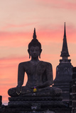 Thailand  Sukhothai Historical Park Wat Mahathat Temple at Sunset