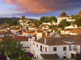 Portugal  Estramadura Obidos  Overview of 12th Century Town at Dusk
