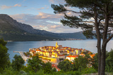 Elevated View over Picturesque Korcula Town Illuminated at Sunset  Korcula  Dalmatia  Croatia