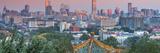 China  Beijing  Jingshan Park  Pavillion and Modern Chaoyang District Skyline Beyond
