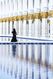 United Arab Emirates  Abu Dhabi Arabic Woman Walking Inside Sheikh Zayed Grand Mosque