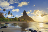 Brazil  Fernando De Noronha  Conceicao Beach with Morro Pico Mountain in the Background