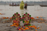 Puja or Prayers  and Offerings are Left on the Banks of the Ganges River During Kumbh Mela