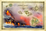A 1876 Centennial Map of the Hawaiian Islands with Artwork of a Lava Flow