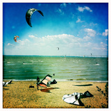 Kite Boarders and Windsurfers Sail Near the Chesapeake Bay Bridge