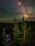The Summer Milky Way and Green Air Glow in a Dark Starry Sky over Yellowstone National Park