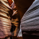 The Sandstone Walls of a Slot Canyon Eroded by Flash Floods Carrying Abrasive Sand Particles