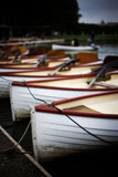 Red and White Boats Lined Along the Shore in Paris  France