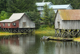 Houses Built on Stilts Rise Above a Tidal Waterway in Petersburg  Alaska