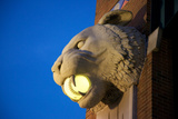 A Tiger Head Light on the Outside of the Comerica Park Building