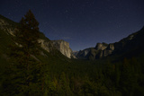 Tunnel Vista  and El Capitan Lit by Moonlight Just before Dawn