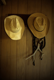 Cowboy Hats Hang on a Wall in a Cabin in a Cattle Camp