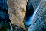 A Climber on the Lower Portion of the Lost Arrow Spire Hanging Above Yosemite Falls