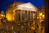 The Pantheon at Night with People in the Piazza Della Rotunda