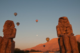 Hot Air Balloons Above the Colossi of Memnon in the Valley of the Kings Near Luxor