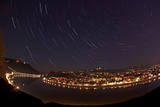 Linz at Night with Star Trails  Orion  Winter Triangle  Cassiopeia  and Polaris