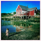 A Two Year Old Girl Walks the Low Tide Shoreline at Orr's Island