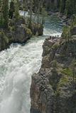 Tourists Watch Yellowstone River Plunge over Upper Yellowstone Falls