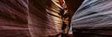 A Panoramic View of a Slot Canyon Eroded by Flash Floods Carrying Abrasive Sand Particles