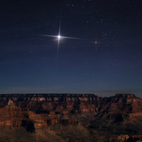 Jupiter over the Grand Canyon on the Right Is Bright Red-Orange Star Aldebaran  in Taurus