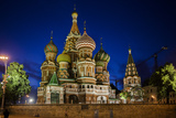 Saint Basil's Cathedral Illuminated at Night on Red Square  a UNESCO World Heritage Site