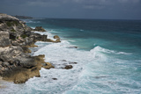 Surf Strikes the Cliffs on the Southern Point of Isla Mujeres Island  Mexico
